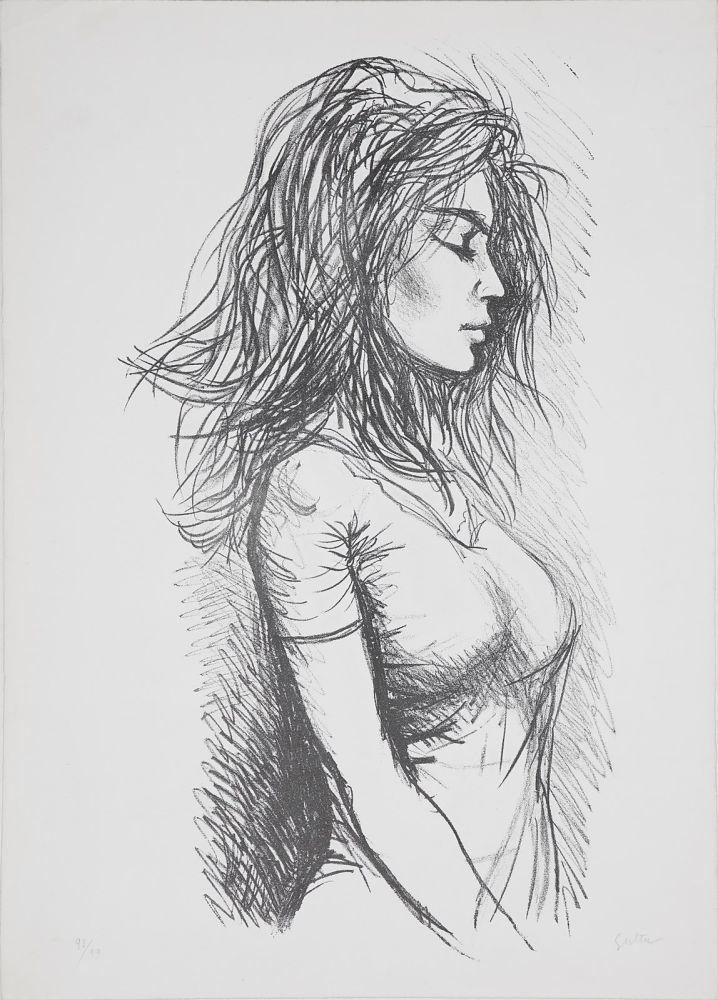 リトグラフ Guttuso - Donna di profilo verso destra