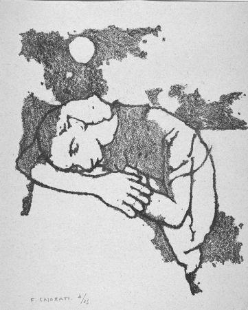 リトグラフ Casorati - Donna dormiente