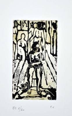 リノリウム彫版 Casorati - Donna nella stanza