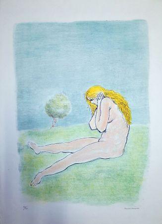 リトグラフ Messina - Donna seduta