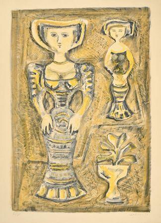 リトグラフ Campigli - DONNE - FIORI, 1957