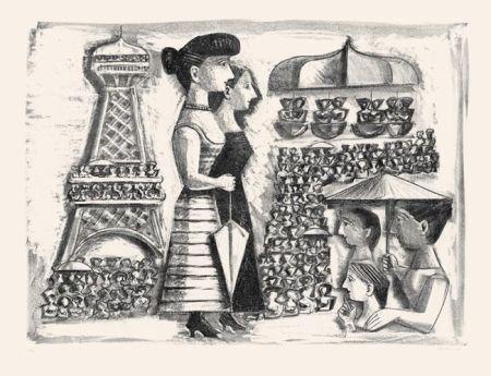 リトグラフ Campigli - Donne alla Torre Eiffel