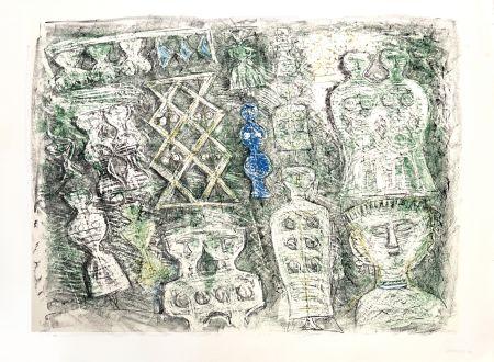 リトグラフ Campigli - Donne su fondo verte