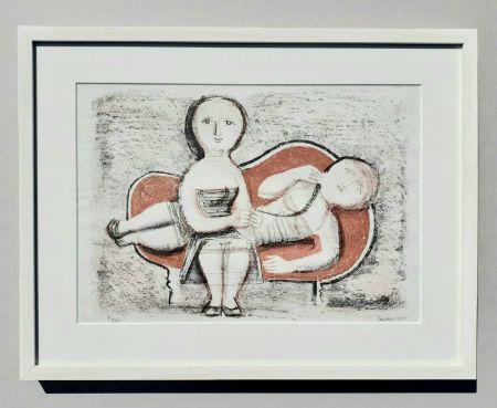 リトグラフ Campigli - Donne sul divano