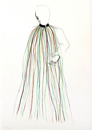 リトグラフ Dine - Dorian Gray in Multi-Colored Vinyl Stripe Cape