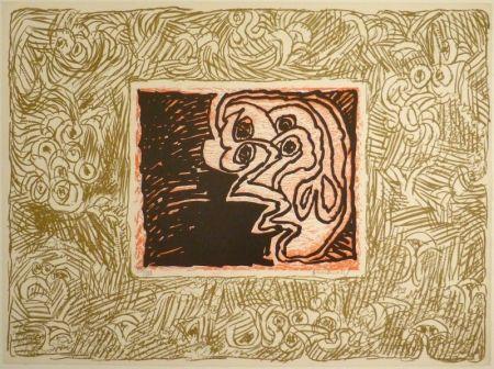 リノリウム彫版 Alechinsky - Double Vue