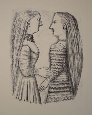 リトグラフ Campigli - Due Donne di Profilo