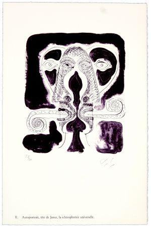 リトグラフ Nørgaard - E. Autoportrait, tête de Janus, la schizophrénie universelle.