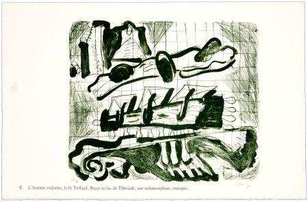 リトグラフ Nørgaard - E. L'homme endormi, le lit Tiefland, Beuys au lac de Tibériade, une méthamorphose, entropie.