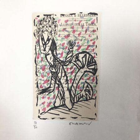 エッチングと アクチアント Alechinsky - Eau-forte signée. 1988.