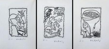 彫版 Alechinsky - Eclipses - Triptyque