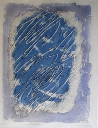 アクチアント Fautrier - Ecriture Sur Fond Bleu
