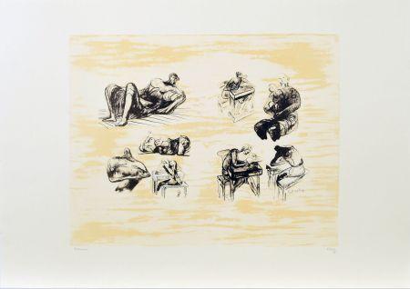 リトグラフ Moore - Eight sculptural ideas, girl writing
