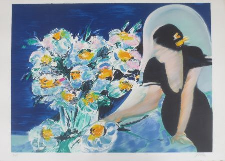 リトグラフ Spahn - Elisabeth au bouquet