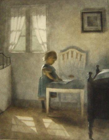 メゾチント彫法 Ilsted - Ellen, Little Girl In A Blue Dress