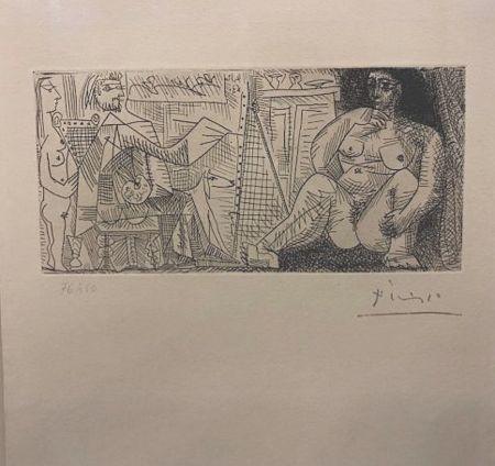 エッチング Picasso - En el atelier, pintor, modelo y espectador