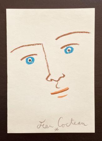 リトグラフ Cocteau - En face yeux bleu