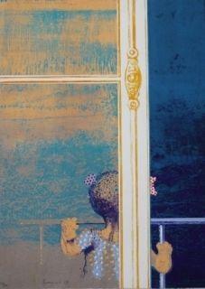 シルクスクリーン Cremonini - Enfant à la fenêtre