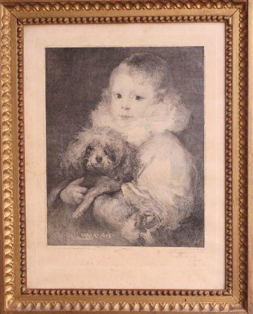 エッチング Carriere - Enfant au chien
