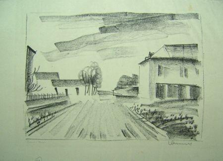 リトグラフ Vlaminck - Entrée de Village