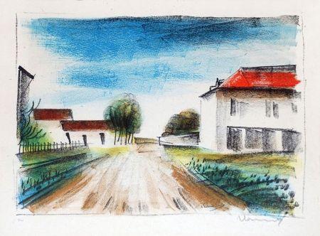 リトグラフ Vlaminck - Entrée de Village II (La Route de Francheville)