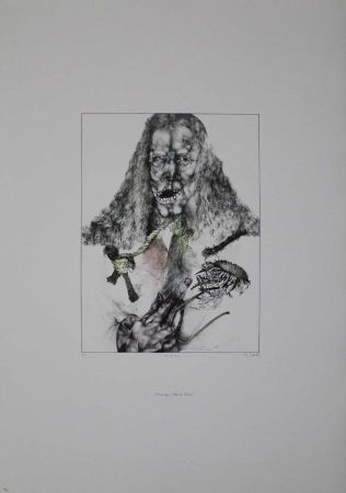 リトグラフ Schwarz - Er ist tot (Hommage à Albrecht Dürer)