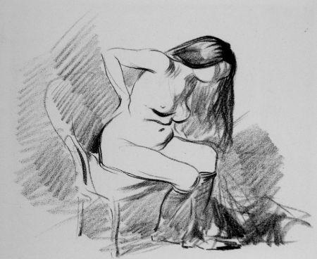 リトグラフ Forain - Etude de femme assise, se déshabillant