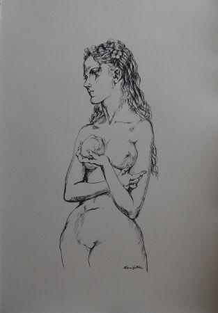 リトグラフ Foujita - Eve à la pomme