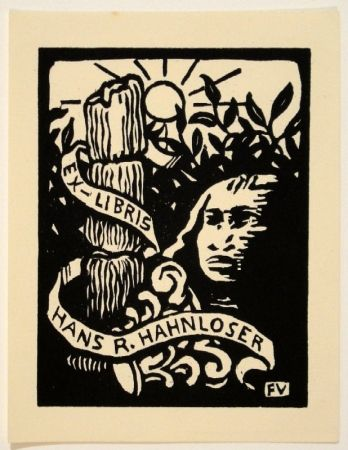 木版 Vallotton - Ex-Libris Hans R. Hahnloser