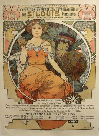 リトグラフ Mucha - Exposition Universelle et Internationale  St Louis USA