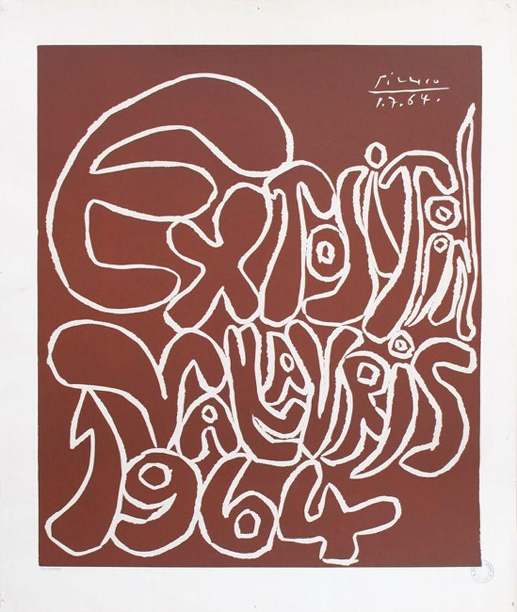 リノリウム彫版 Picasso - '' Exposition Vallauris 1964 ''