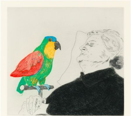 エッチング Hockney -  Félicité sleeping with Parrot. 1974
