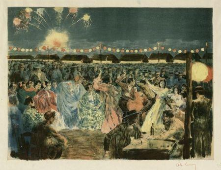 リトグラフ Lunois - Fête de nuit sur les bords du Guadalquivir