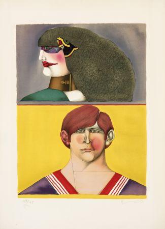 リトグラフ Lindner - Face et profil