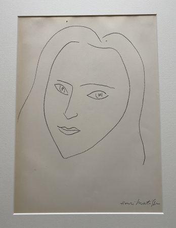 リトグラフ Matisse (After) - Facing Woman's  portrait with long hair