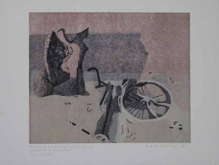 リノリウム彫版 Rössing - Fahrrad im Schnee (Der Sphinx im Belvedere)