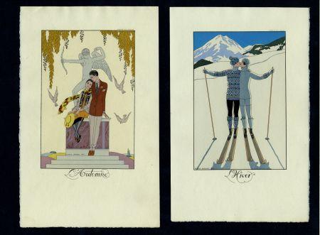 挿絵入り本 Barbier - FALBALAS ET FANFRELUCHES. Almanach des modes présentes, passées et futures pour 1922, 1923, 1924, 1925 et 1926. Collection complète