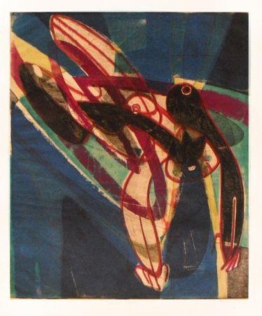 彫版 Hayter - Falling figure
