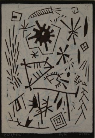 リノリウム彫版 Nebel - Farbiger Linolschnitt (Werknummer L. 643/1972).