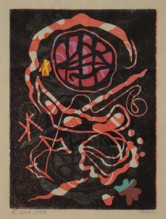 リノリウム彫版 Nebel - Farbiger Linolschnitt, zum Teil handkoloriert.
