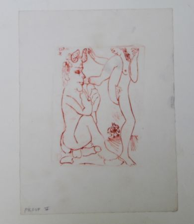 彫版 Picasso -  Faune Et Bacchante , Avec Combat De Faunes