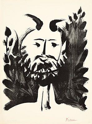 リトグラフ Picasso - Faune souriant