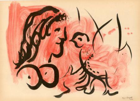 ステンシル Chagall - FEMME À L'OISEAU (1954) de l'album : Douze Contemporains par J. Lassaigne (1959)