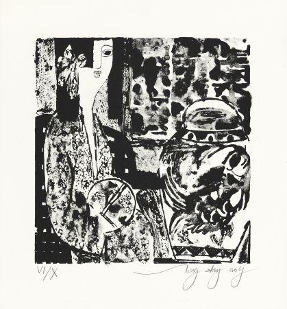 リトグラフ Tongzhengang - Femme à l'éventail