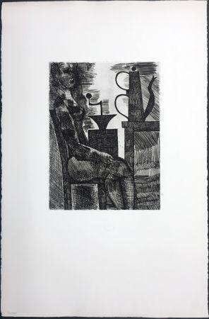 彫版 Gromaire - Femme à la cafetière (Chacographie du Louvre)