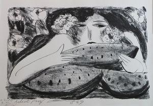 リトグラフ Ting - Femme a la Pasteque,