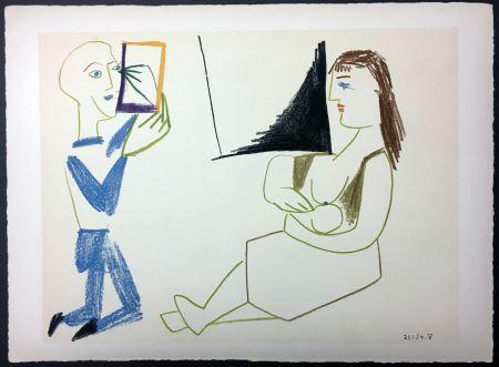 リトグラフ Picasso - Femme allaitant (de La Comédie Humaine - Verve 29-30. 1954).