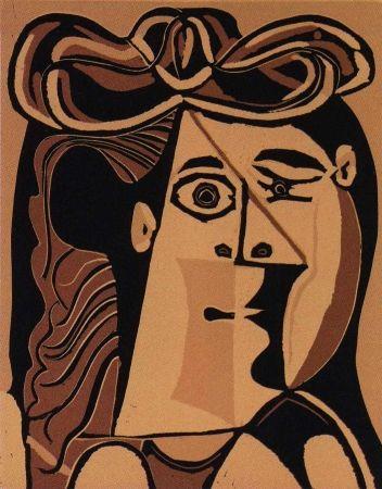 リノリウム彫版 Picasso - Femme au Chapeau