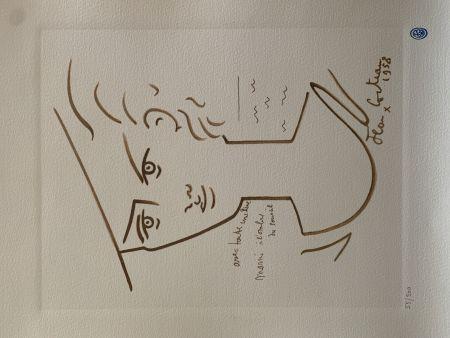 リトグラフ Cocteau - Femme au chapeau