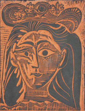 セラミック Picasso - Femme au Chapeau Fleuri (A.R. 521)